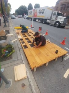 Crew from Wade Joyce Design Constructs Parklet on College Street in Burlington